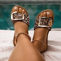 Summer new style sandals flat female side buckle slippers sandals