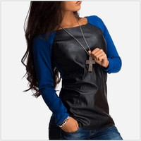 Leather Panel Long Sleeve Sweater