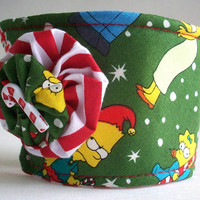 The Simpsons Cup Cozy / Christmas Drink Sleeve / Holiday Candy Canes / Cartoon / Red & White Stripes / Striped / Cartoon