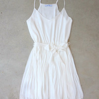.Pleated White Valley Dress [7206] - $36.00 : Feminine, Bohemian, & Vintage Inspired Clothing at Affordable Prices, deloom