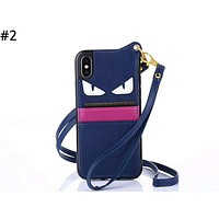 Fendi tide brand men and women with rope iphone7 card phone case #2