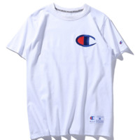 Champion simple retro embroidery logo men and women couples T shirt White