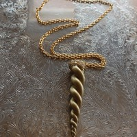 Gold Unicorn horn necklace - Unique and hand sculpted - alicorn / my little pony / narwhal / real