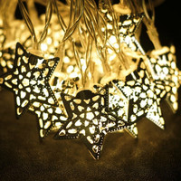Battery Operated 20 Cut-Out Star String Lights