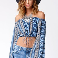 FAITHFULL THE BRAND Paisley Cropped Off-The-Shoulder Cabo Top - Womens Shirts - Multi