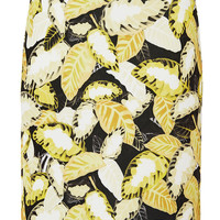 Daisy Leaf Print Pencil Skirt
