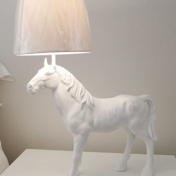 Horse's Lamp, Equine Decor, White Horse Figurine, Horse Desk Lamp, Horse Sculpture, Wedding Gift, Lamp Australia,Table Lamp, Hodi Home Decor