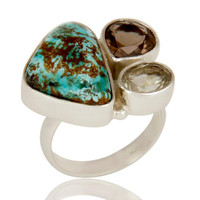 Boulder Turquoise, Smokey and Green Amethyst  Sterling Silver Gemstone Ring