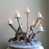 Driftwood Six Candles Candelabra, Wedding Centerpiece, Table Decor, Driftwood Candelabra, Beach Decor, Driftwood Art, Rustic Decor