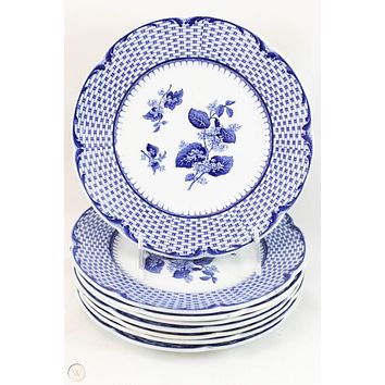 Blue & White Transferware Plate Lilac Flowers in Basketweave Border Brown Westhead & Moore