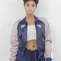 YES LOVE EMBROIDERED SATIN BOMBER JACKET