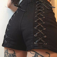 Personality Fashion Sexy Crisscross Bandage Solid Color High Waist Shorts Hot Pants