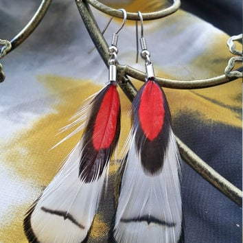 White Feather Earrings with Red & Black Lace Accent Feather