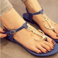 Navy Style Anchor Thong Sandals