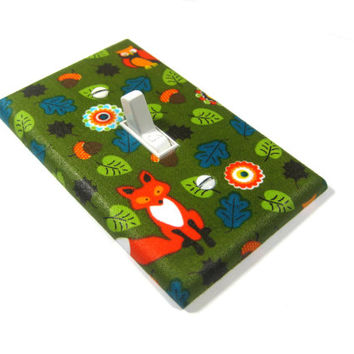 Leaves and Fox Decor Light Switch Cover Woodland Critters Decoration Owl Bedroom