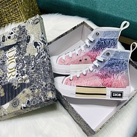 Dior new color women's high-top canvas shoes