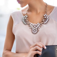 Floral Rhinestone Collar Necklace