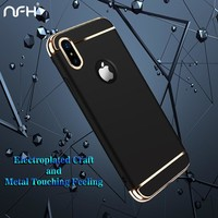 NFH Case For iPhone X 8 8 Plus Metallic Coque Luxury Anti-knock Phone Cover Capa Shell Case For iPhone 6 6s 7 8 Plus X 10 Case