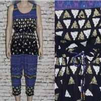90s Jumpsuit Ethnic Gauzy India Crinkle Rayon Dress Romper Grunge Boho Hipster Festival Hippie Earthy  70s XS S Onsie Trousers pants Dress