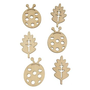 Ladybug Laser Cut Wooden Stickers, Natural, 2-Inch, 6-Count