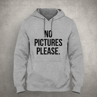 No pictures please. - Go f*ck your selfie - Gray/White Unisex Hoodie - HOODIE-051