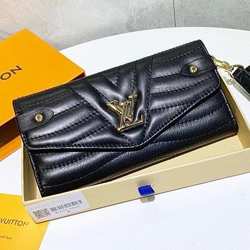 LV New fashion leather wallet purse handbag Black