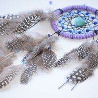 Car Dream catcher,  Rear View Mirror Charm, Small Dreamcatcher, Car accessory, Turquoise stone, Glass beads.