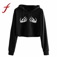 Feitong Harajuku Women Cropped Hoodie Sweatshirt Long Sleeve Short Jumper Sweatshirts Crop Tops Pullover sudaderas mujer 2018