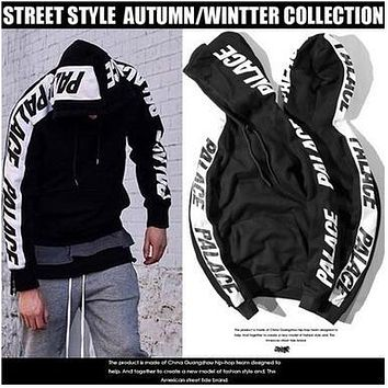PALACE New Arrival Sleeve Printing Pullover Hoodies Winter Autumn Contrast Color Fleece Thick Hooded Hoody Steet Wear Sweatshirts Tops