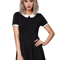 Gypsy Warrior Peter Pan Fit And Flare Dress - Womens Dress - Black