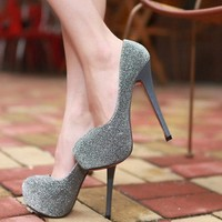 Wholesale 2012 high with thick waterproof single shoes SY-823-9 silver - Lovely Fashion