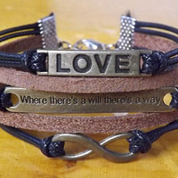 """Antique bronze - the letters LOVE, letters 8, """"where there's a will there's a way"""" bracelets, leather bracelet"""