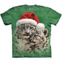 PLAYMATES CHRISTMAS The Mountain Cute Cats Snow Leopard Santa Hat T-Shirt S-3XL
