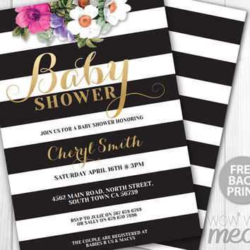 Glitter It's a Girl Baby Shower Invitation INSTANT DOWNLOAD Elegant Invite Floral Black White Stripe Personalize Editable Printable Party