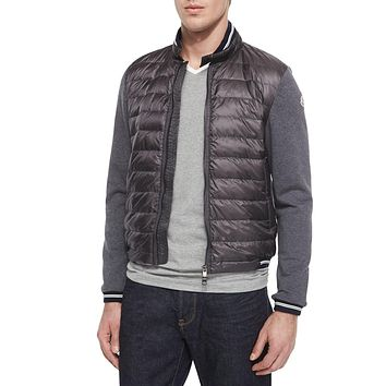 Men's Mixed-Media Quilted-Front Jacket, Gray - Moncler - Grey