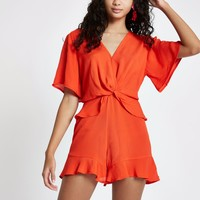 Red knot front frill romper - Rompers - Rompers & Jumpsuits - women