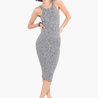 Grey Sleeveless Bodycon Midi Dress