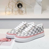 LV Louis Vuitton Woman Genuine Leather Fashion Casual Sports Sneakers Shoes