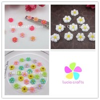 24pcs lot 9mm Flatback Resin Flower Beads DIY Jewelry Finding Accessory 21020954(9D24)