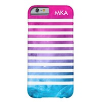 Pink and Blue Ombre Space Stripes Monogram
