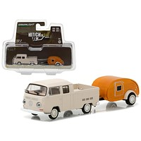 1968 Volkswagen Type 2 Double Cab Pickup and Teardrop Trailer Hitch & Tow Series 10 1/64 Diecast Model Car-by Greenlight