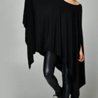 Fashion Women Cloak Batwing Sleeves Irregular Bodycon Dress Black