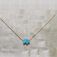 Opal Blue Elephant Necklace
