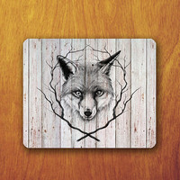 WOODEN Art Fox Shadow Drawing Mouse PAD Animal Painting Branch Decorated Mousepad Office Deco Desk Word Pad