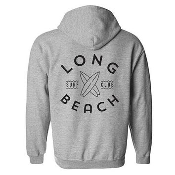 Long Beach Surf Club Hoodie - Heather Grey