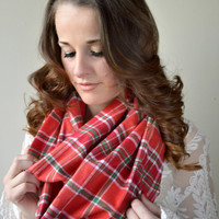 Red Green Plaid Infinity scarf, Warm winter Infinity Scarf, Plaid flannel scarf