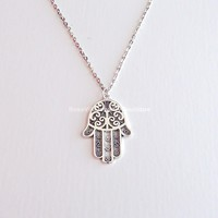 Silver Hamsa Hand Necklace - also available in bronze