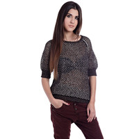 Golden Open Knit Sweater With 3/4 Sleeve - Q2 Store