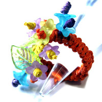 Macrame Charm Ring - The perfect gift idea - for a Woman, a girl - Birthday present for a woman - macrame, floral ring - Orange - Multicolor