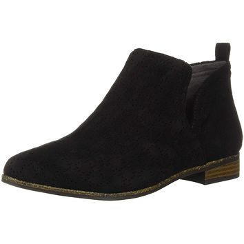 Dr. Scholl's Shoes Women's Rate Boot 10 Black Perforated Microfiber Suede